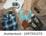 traveler items vacation travel... | Shutterstock . vector #1097551373