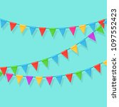 banner with garland of colour... | Shutterstock .eps vector #1097552423
