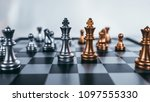 chess board game concept of... | Shutterstock . vector #1097555330