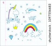 unicorn magic doodle vector set.... | Shutterstock .eps vector #1097556683