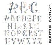 summer floral font. flower... | Shutterstock .eps vector #1097558399