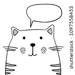 doodle sketch cat with chat... | Shutterstock .eps vector #1097558453