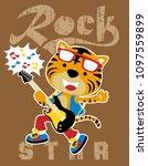 vector cartoon of tiger playing ... | Shutterstock .eps vector #1097559899