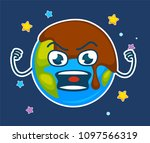 earth covered in mud with angry ... | Shutterstock .eps vector #1097566319