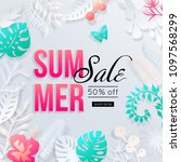 summer sale banner with paper... | Shutterstock .eps vector #1097568299