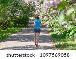 woman runner jogging in spring...   Shutterstock . vector #1097569058