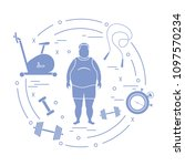 fat man and different sports...   Shutterstock .eps vector #1097570234