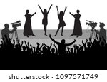 cheerful people audience ... | Shutterstock .eps vector #1097571749