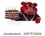 fun bull   3d illustration   Shutterstock . vector #1097571836