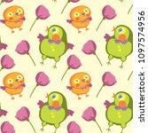 seamless pattern of bird and... | Shutterstock .eps vector #1097574956