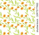 seamless pattern with flowers... | Shutterstock . vector #1097577983
