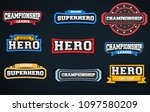 super hero typography stickers... | Shutterstock .eps vector #1097580209