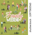 happy family weekend poster.... | Shutterstock .eps vector #1097583560