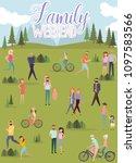 happy family weekend poster.... | Shutterstock .eps vector #1097583566