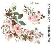 flower arrangement of pink... | Shutterstock .eps vector #1097589806