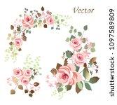 flower arrangement of pink... | Shutterstock .eps vector #1097589809