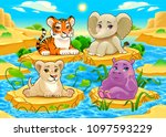 baby cute jungle animals in a... | Shutterstock .eps vector #1097593229