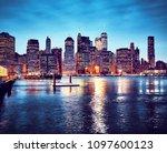 manhattan skyline reflected in...   Shutterstock . vector #1097600123