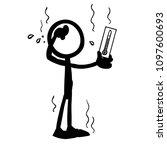 stick figure measure temperature | Shutterstock .eps vector #1097600693