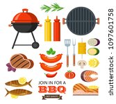 large barbecue set. vector... | Shutterstock .eps vector #1097601758