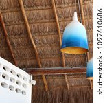 a rafters under a palm leaves... | Shutterstock . vector #1097610686