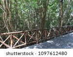 a way on the wooden bridge. | Shutterstock . vector #1097612480