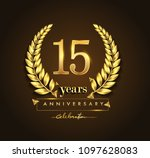 15th gold anniversary... | Shutterstock .eps vector #1097628083