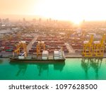 aerial view of ship cargo... | Shutterstock . vector #1097628500