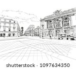 france. montpellier. place de... | Shutterstock .eps vector #1097634350