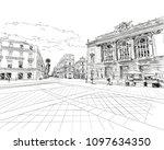 france. montpellier. place de... | Shutterstock .eps vector #1097634350
