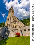 vaduz cathedral of saint florin ... | Shutterstock . vector #1097637758