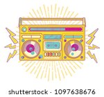colorful funky boom box | Shutterstock .eps vector #1097638676