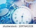 double exposure of graph  stock ...   Shutterstock . vector #1097641328