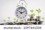 clock and rows of coins for...   Shutterstock . vector #1097641334
