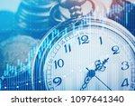 double exposure of graph  stock ...   Shutterstock . vector #1097641340