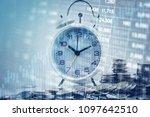double exposure of graph  stock ...   Shutterstock . vector #1097642510