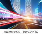 the light trails on the modern... | Shutterstock . vector #109764446