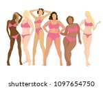 attractive women posing.... | Shutterstock .eps vector #1097654750