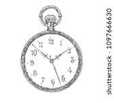 vintage pocket watch. vector... | Shutterstock .eps vector #1097666630