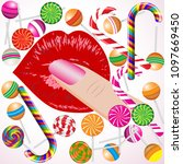 finger  sexy women lips with... | Shutterstock .eps vector #1097669450