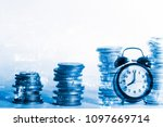 double exposure rows of coins...   Shutterstock . vector #1097669714