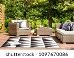 comfy garden furniture and... | Shutterstock . vector #1097670086