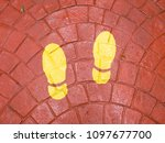 footstep sign direction on the... | Shutterstock . vector #1097677700