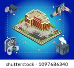 isometric supermarket security... | Shutterstock .eps vector #1097686340