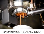 close up of espresso pouring... | Shutterstock . vector #1097691320