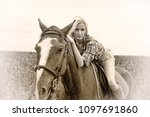 blonde and white horse on... | Shutterstock . vector #1097691860