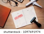 visa and passport with denied... | Shutterstock . vector #1097691974