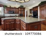 Stock photo kitchen in luxury home with large center island 109770086