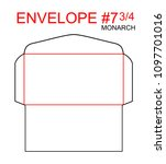 envelope  7 3 4 monarch die cut ... | Shutterstock .eps vector #1097701016