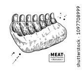 raw ribs vector drawing. beef ...   Shutterstock .eps vector #1097708999